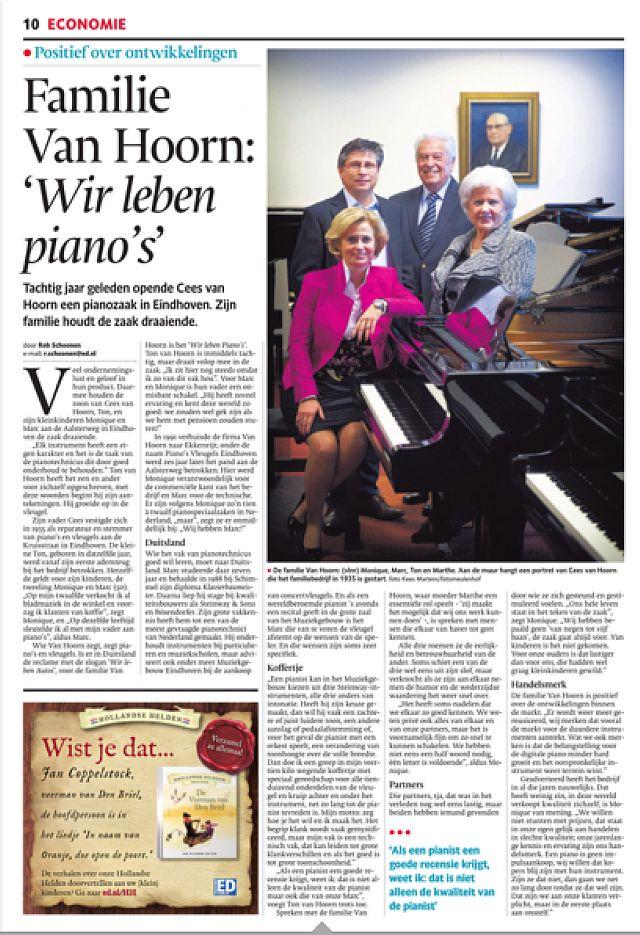 Eindhovens Dagblad 25-11-2015  FAMILIE VAN HOORN 80 JAAR IN DE PIANOS
