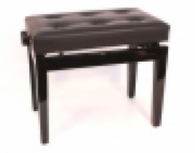 Pianobank verstelbaar zwart hoogglans / gecapitonneerd